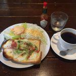 町屋ボリューム朝食!「黒猫舎(くろねこしゃ)」でピザトーストモーニング!猫むすび!
