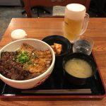 御徒町メガ盛り!「北海道マルハ酒場」で牛豚合盛カルビ丼・大特!生ビールあり!