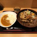 日本橋メガ盛り!「よもだそば」で特大かき揚げそば・半インドカレー・生卵!