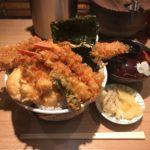 東京デカ盛り天丼!「金子半之助 神田小川町店」で松(穴子)・大盛り・味噌汁!